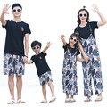 Летние одинаковые комплекты для семьи повседневные штаны с широкими лямками и принтом для мамы и дочки Пляжная футболка для отдыха для папы...
