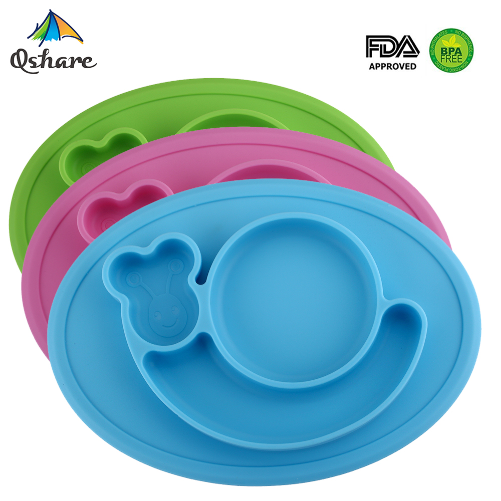 Qshare Infants Silicone Plate Baby Dishes Feeding Food Plate Tray for Kid Dinnerware Set Waterproof Baby Tableware Placemat