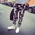 Calças de camuflagem Masculinos Novos 2015 Homens Coreanos e Mulheres Camo Calças Perna Calças Moda Moda Militar de Camuflagem Calças 2 Cores