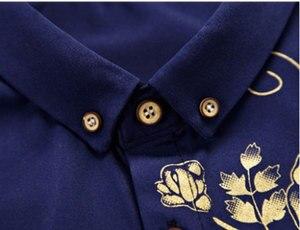 Image 4 - Brand Wine Red Mens Dress Shirts 2018 Fashion Golden Rose Flower Print Button Down Shirt Men Slim Fit Long Sleeve Chemise Homme