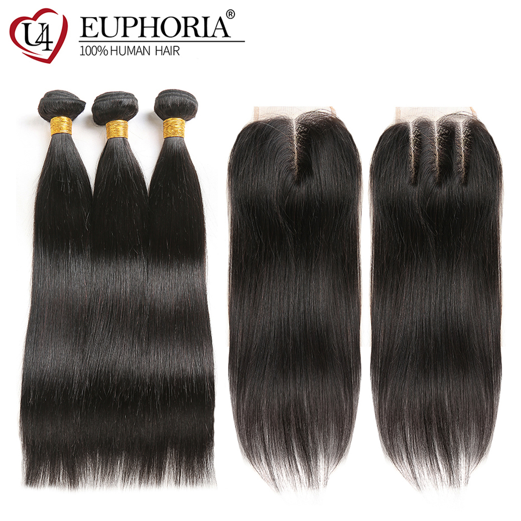 Natural Color Human Hair Bundles With Lace Closure 4x4 EUPHORIA Brazilian Straight Hair Weft Extensions With
