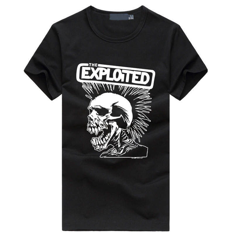 2019 Exploited Print Men's Fashion T-shirts Cute Punk Skull Graphics Brand Tee Shirt Hip Hop Casual Fitness Homme Swag Clothing