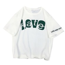 Summer Tshirts Women Harajuku Cotton Funny Letters Love And Hate Streetwear T shirt Korean Style Clothes Tops camiseta mujer(China)