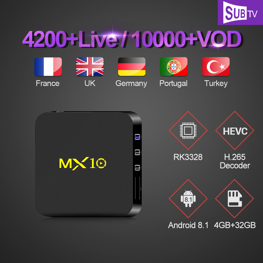 IPTV Subscription 12 Months SUBTV Code MX10 Smart Android