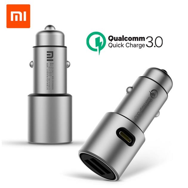 xiaomi car charger Quick Charge 3.0 Dual USB fast charging for iPhone 7 Samsung Android phone Tablet universal USB-C PD metal 4x