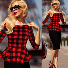 Womens Peplum Elegant Vintage Tartan Plaid Patchwork Contrast Tunic Wear to Work Office Party Sheath Casual Dress