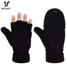 Vlněné unisex pletené rukavice – půlprstové s kapsou na přikrytí