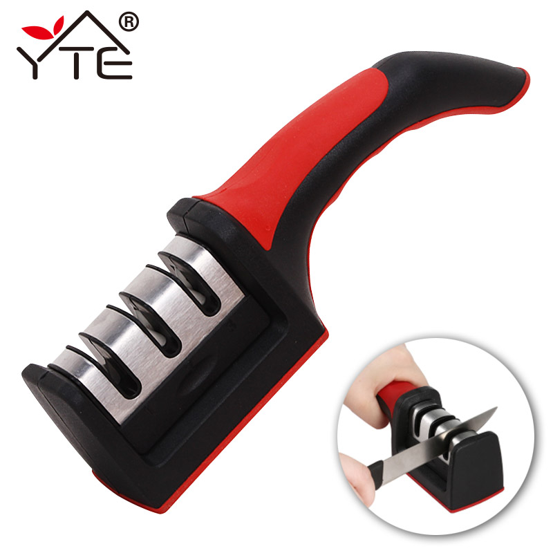 3 Stages Knife Sharpener Quick Sharpener Professional Knife Grinder With Non-Slip Silicone Rubber