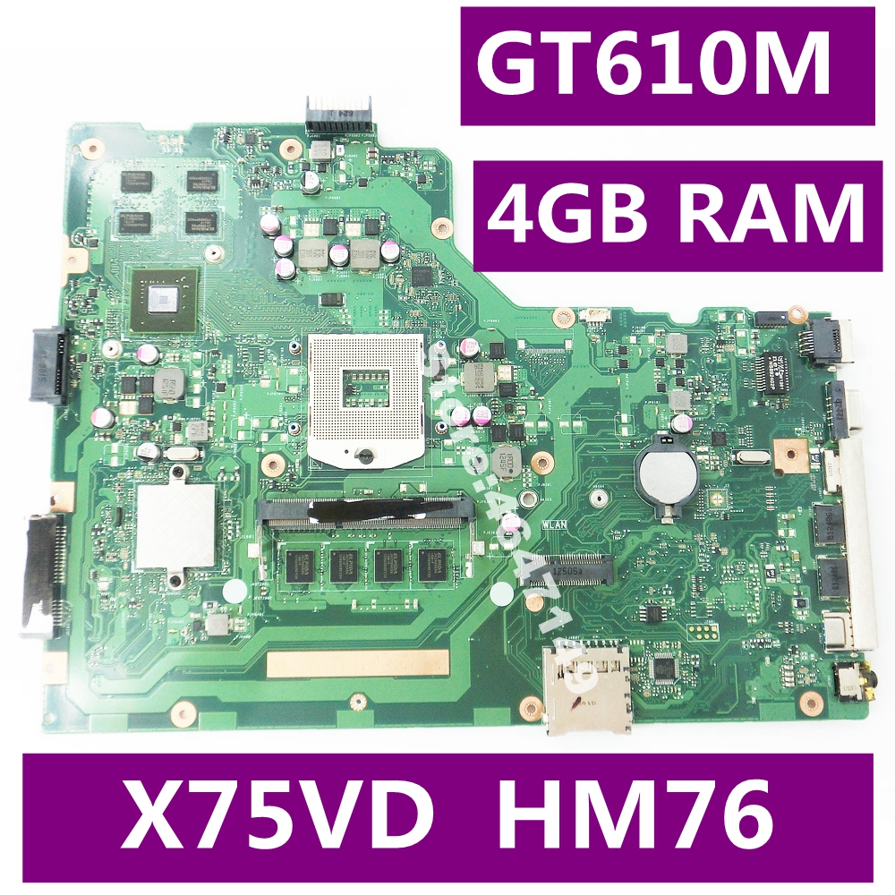 X75VD 4GB RAM GT610M 8pcs Video Memory Mainboard REV 2.0 For ASUS X75V X75VC X75VB R704V X75VD laptop motherboard Test OK