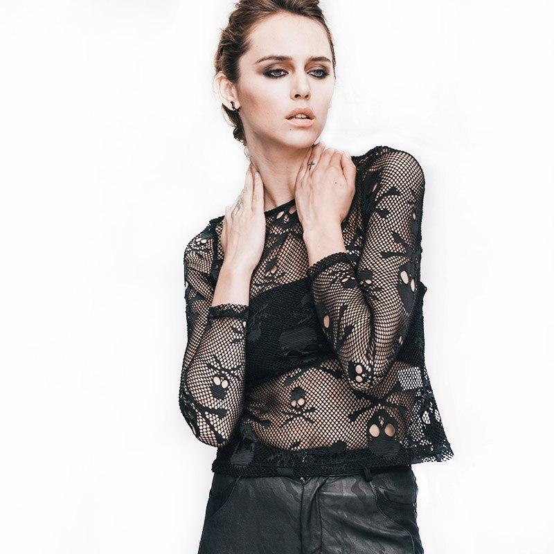 Steampunk női pamut póló, koponya nyomtatott átlátszó felsők, - Női ruházat