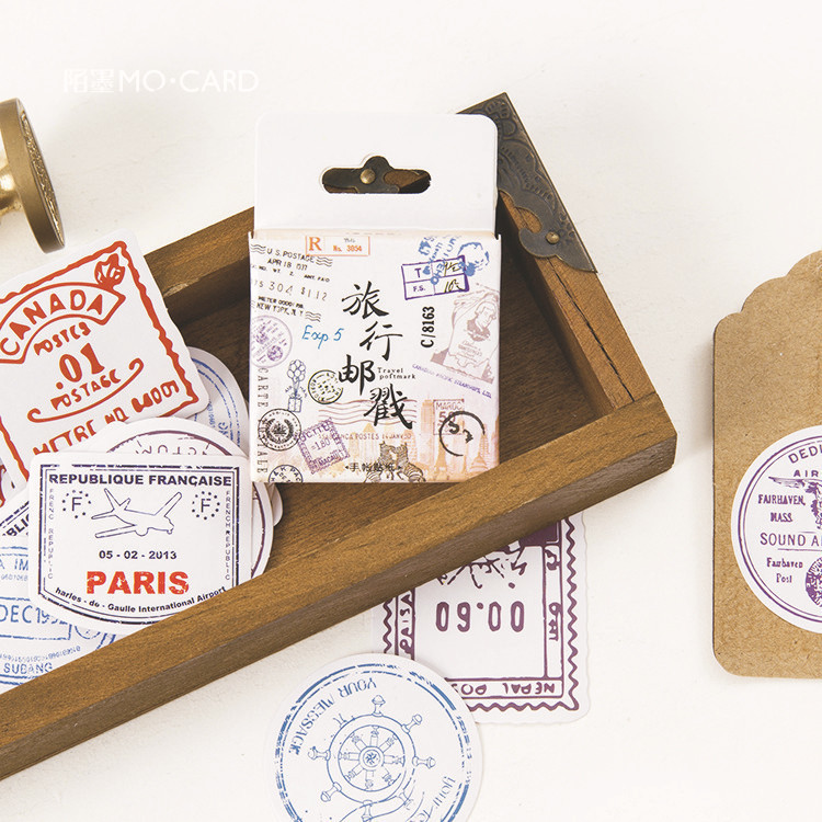 45 PCS/box New Travel Postmark Album Paper Lable Stickers Crafts And Scrapbooking Decorative Lifelog Sticker Cute Stationery 38 pcs stickers bag diy cute happy birthday scrapbook paper stationery crafts and scrapbooking decorative sticker for decoration
