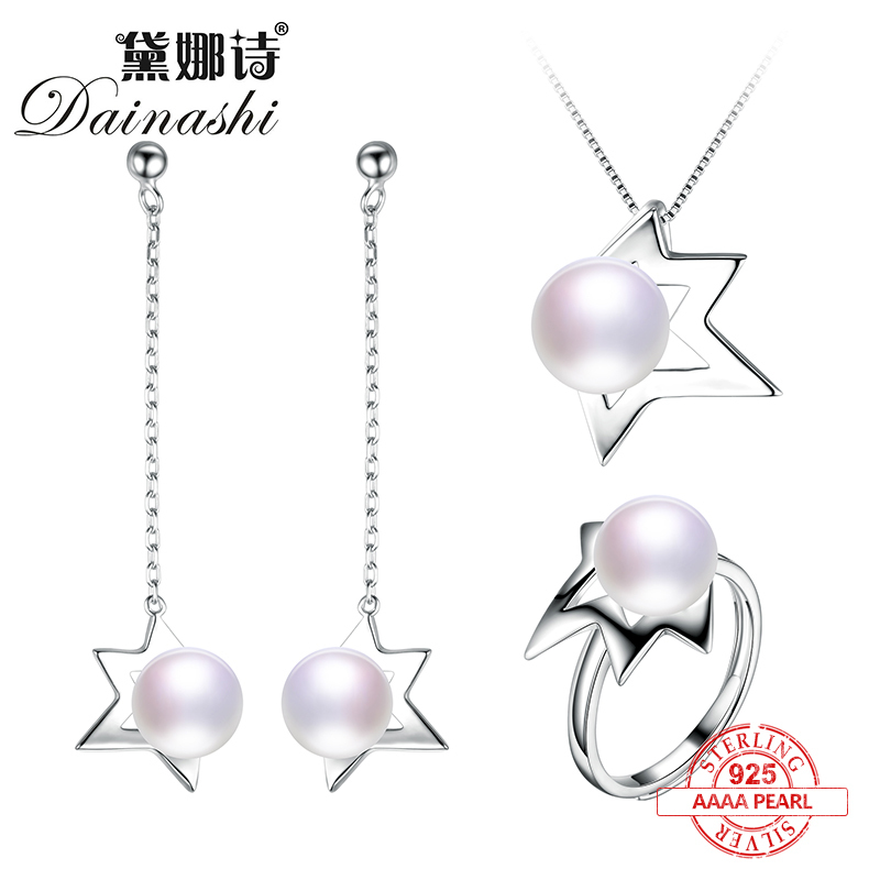 Dainashi star shape 925 sterling silver high quality pearl jewelry sets adjustable pearl rings pearl pendants and pearl earringsDainashi star shape 925 sterling silver high quality pearl jewelry sets adjustable pearl rings pearl pendants and pearl earrings