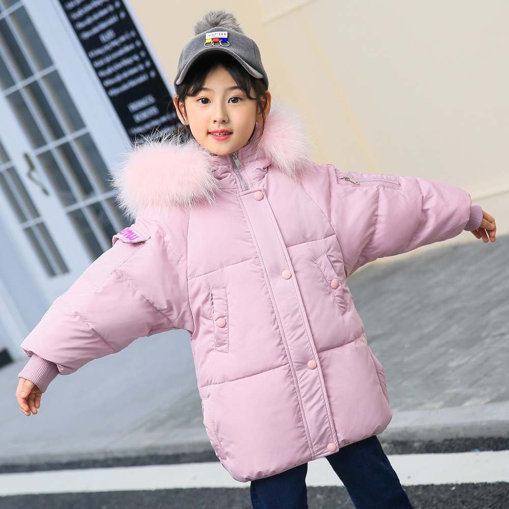 цена XYF8812 Girl Winter White Duck Down Coat Child Big Fur Collar Keep Warm Thick Hooded kids Jacket Long Outerwear Boys Windbreaker
