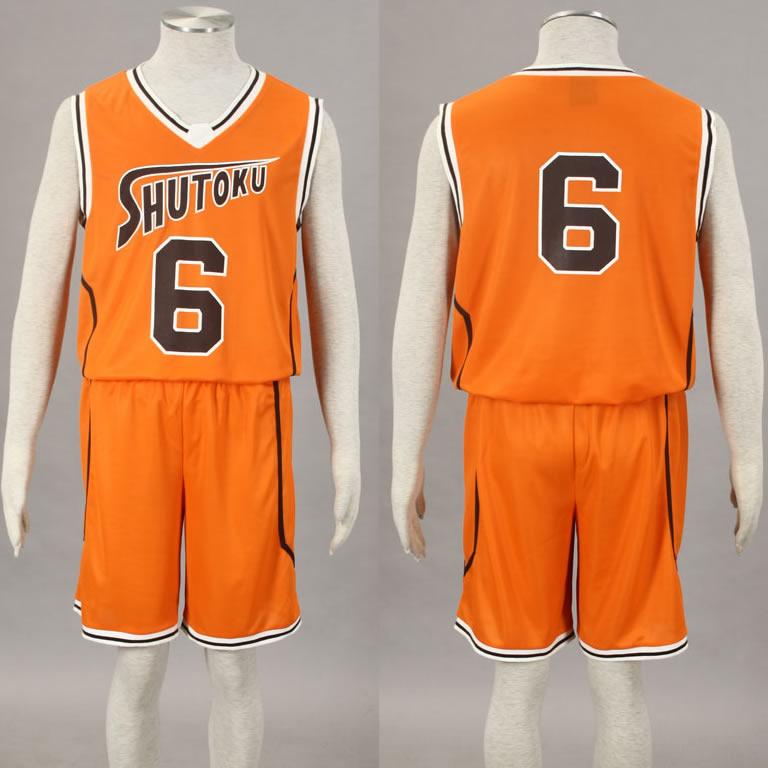 Kuroko no basket No. 6 Midorima Shintaro Cosplay Costume Shutoku Basketball Team Uniform Orange Wholesale