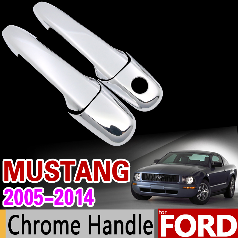for Ford Mustang 2005-2014 Chrome Handle Cover Trim Set Shelby GT GT500 2006 2008 2010 2012 Car Accessories Sticker Car Styling for toyota isis platana 2004 2015 chrome handle cover trim set 2005 2006 2007 2008 2010 2012 2013 2014 accessories car styling