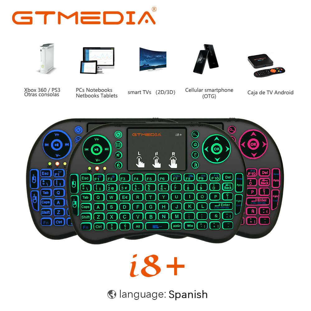 Backlit i8 Mini Air Mouse 2.4G Wireless Keyboard with Touchpad English Russian Spanish French Remote Control for Android TV BOX