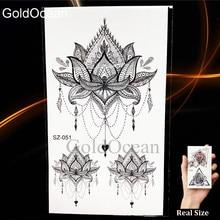 Black Small Paw Temporary Tattoo Women Body Arm Henna Lotus Pendant Tattoo Stickers Girls Fashion Ankle Unicorn Fake Tatoos DIY