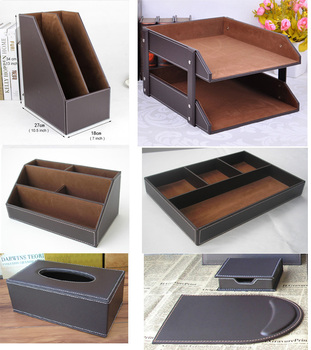 7PCS/set wooden leather office desk filing tray document stand stationery organizer tissue box mouse pad note case brown K262