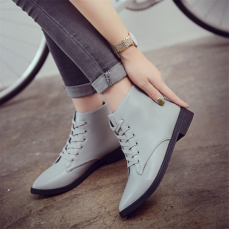 16 spring and autumn boots womens shoes pointed toe boots rubber short lacing adhesive shoes solid color single shoes winter