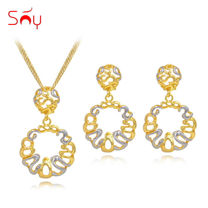 Sunny Jewelry Round Flower Line Hollow Out Statement Jewelry 2019 Big Earrings Pendant Necklace Jewelry Sets For Women For Party
