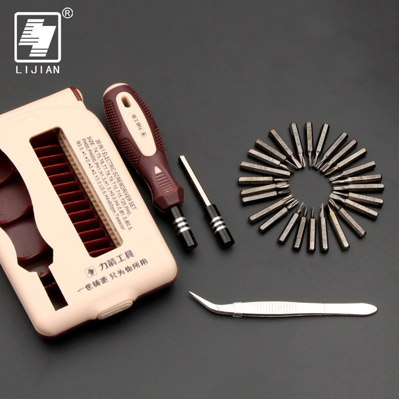 LIJIAN Precision Multi-function Electron Torx Phillips Screwdriver Tool Set 30 In 1 Free Shipping Laptop Computer Mobile Repair
