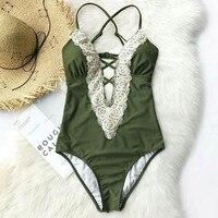 2018 Daddy Chen Retro Summer Beach Print Bandage Single Bikini Sexy Women Swimsuit Bathing Swimwear Female