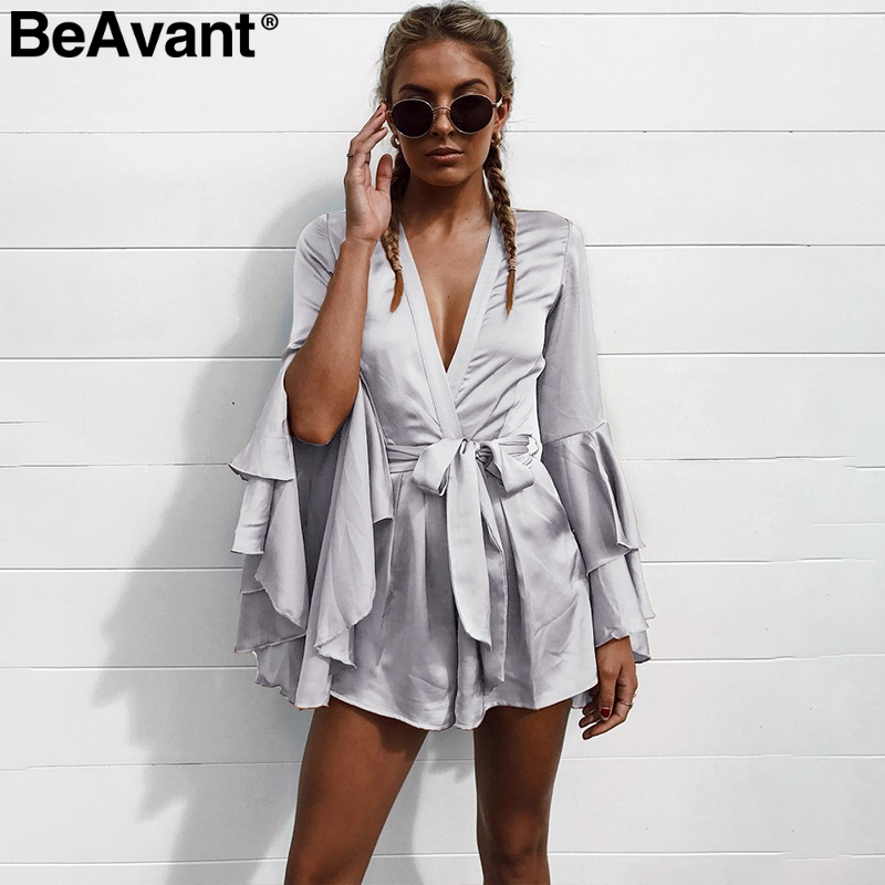 BeAvant Sexy v neck flare long sleeve playsuit High waist tie up pleated satin short romper 2018 Summer women   jumpsuit