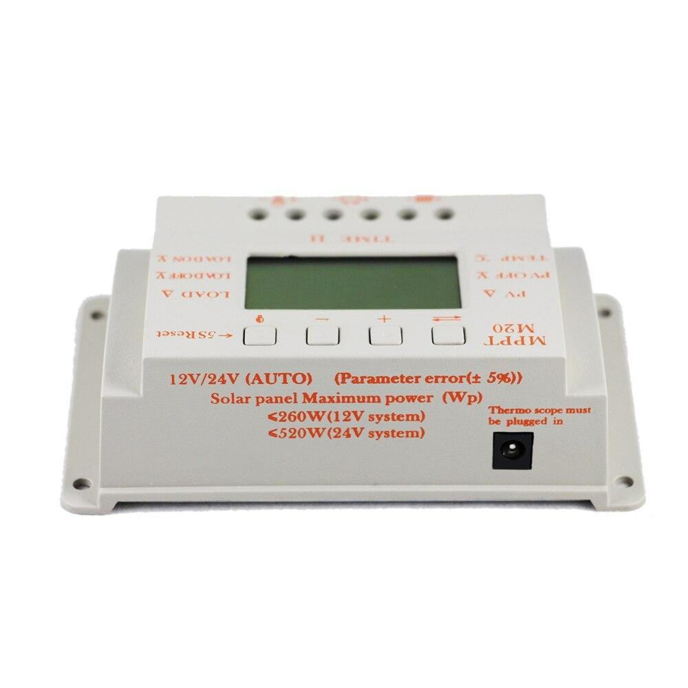 20A PWM & MPPT Solar Laderegler LCD Display 12V 24V Auto Max 520W PV Mit Temperatur sensor Licht und Timer Control M20