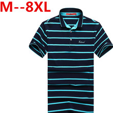 9XL 8XL 6XL 5XL 4XL Men 100% Cotton Polo Shirt Contrast Color Patchwork Brand Clothing Striped Polo Homme Fitness Camisa Polo