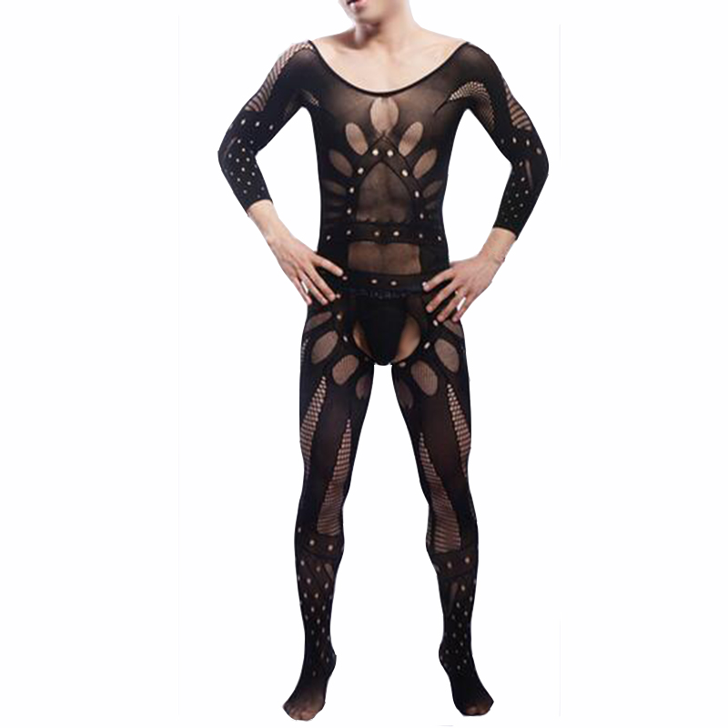 KWAN.Z Male Sexy Lingerie Transparent Open Crotch Bodystocking Men's Catsuit Sexy Body All Wrapped Hot Erotic Underwear Bodysuit