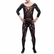 KWAN Z męskie seksowne bielizna przezroczyste bodystocking Z otwartym kroczem męskie catsuit sexy body całkowicie opakowane gorące erotyczne body bielizna tanie tanio KWAN Z Nylon Kolorze ciała Suknem Mężczyźni bodysuit Stałe