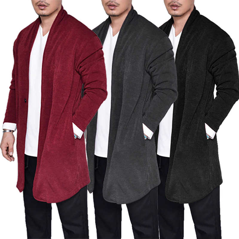 Detail Feedback Questions About Wine Red Open Front Men Cardigan