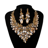 Indian Jewellery Champagne Crystal Necklace Earrings Bridal Jewelry Sets For Brides Party Wedding Earrings Sets Accessories