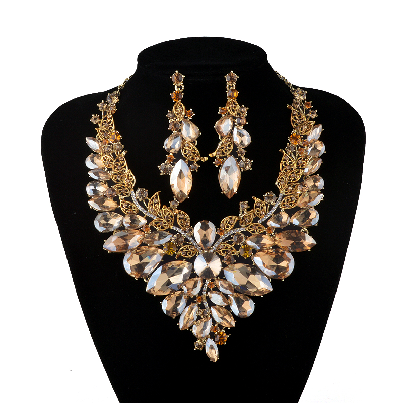 Indian Jewellery Champagne Crystal Necklace Earrings Bridal Jewelry Sets For Brides Party