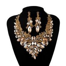 Joyería india champagne Cristal Collar Pendientes Joyería Nupcial Conjuntos Para Las Novias Wedding Party Pendientes sets Accesorios