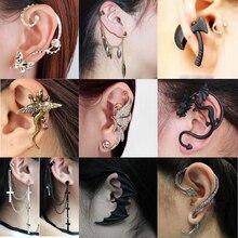 Готические клипсы в форме черной летучей мыши для женщин и девочек, Винтажные серьги в стиле панк, дракона, змеи, бабочки, топора, подарки на вечеринку, ювелирное изделие