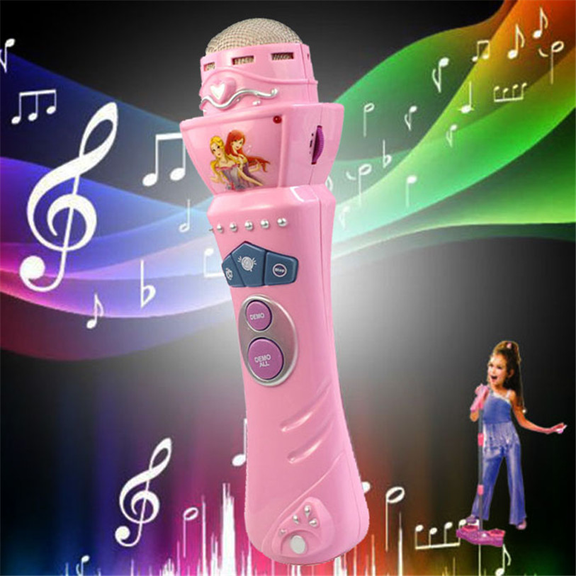 TS  New Wireless Girls boys LED Microphone Mic Karaoke Singing Kids Funny Gift Music Toy Pink AUG 25 2016 new k068 wireless microphone microfone with mic speaker condenser mini karaoke player ktv singing record for smart phones