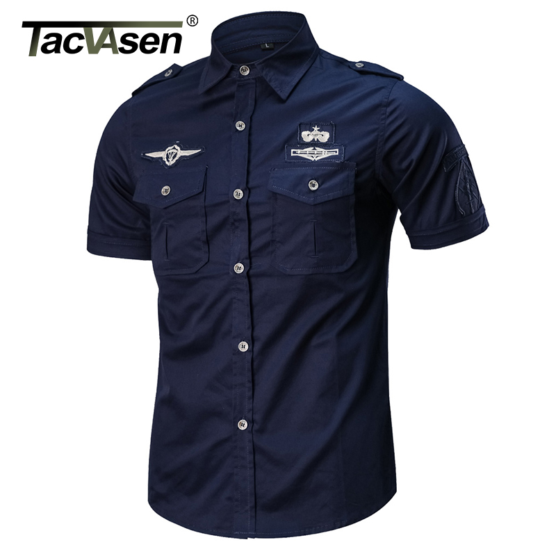 TACVASEN Summer Military Shirt Men Cotton Short Sleeve Casual Shirt Spring Men Army Shirt Tactical Clothes Plus size TD-QZQQ-020