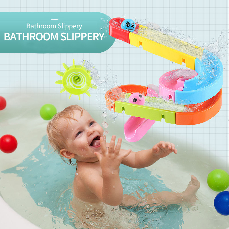 Suction Cup Track Baby Bath Toys for Children Kids in the Bathroom Bathing Water Games Shower Swimming pool waterfall image