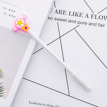 1 Uds. Girl Star Magic Wand Shape Black Neutral Pen creativo estudiante firma pluma examen artículos de escritorio para bolígrafos Kawaii pluma(China)
