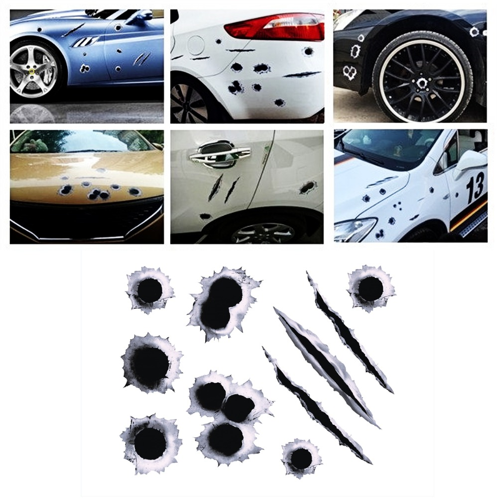 1PCS 3D Bullet Hole Car Stickers Styling Motorcycle Scratch Sticker Decals