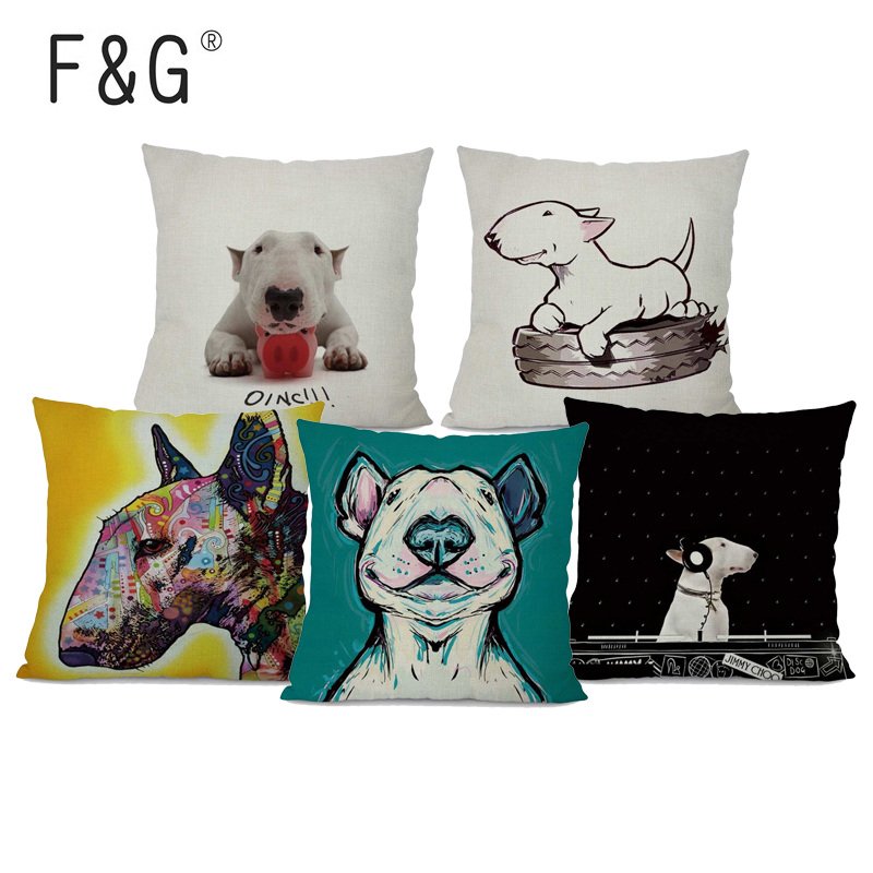 Cushion Cover Lovely Ihomee Cute Dog Cushion Cover Pillow Cases Teddy Chihuahua Bull Terrier Schnauzer Sausage Bedroom Sofa Home Decor Drop Shipping 50% OFF