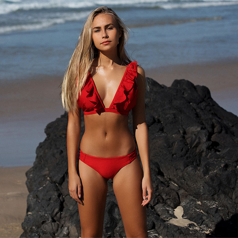bikini push up swimwear women 2019 brazilian thong biquini sexy ruffle swimsuit solid summer bathing suit female maillot de bain