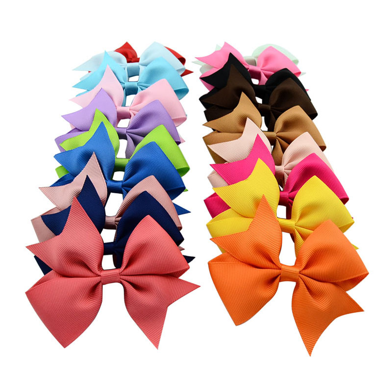 Pure Color Rib Ribbon Fish V shape Bowknot Belt Clip Children s Hair Accessories