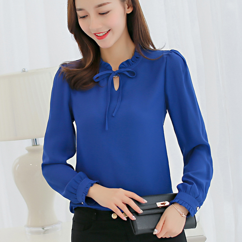 Hot Top Women Blouses Spring Summer Blouse Office Ladies Long Sleeve Shirts Leisure Chiffon Shirt Blue Pink White Slim Tops Bow