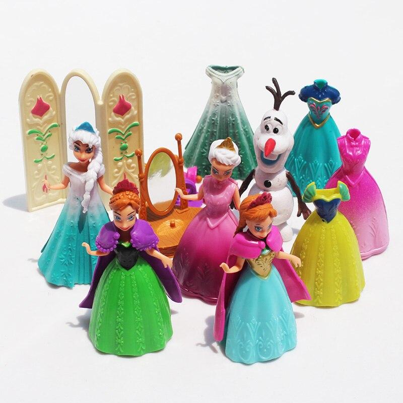 Frozen 11Pcs/Lot Princess Anna Elsa Olaf Figures Doll Toys Model Action Figure Set With Magic Clip Dress For Children funko pop princess elsa anna action figure model doll kids toys birthday gift for girl 410cm christmas gift