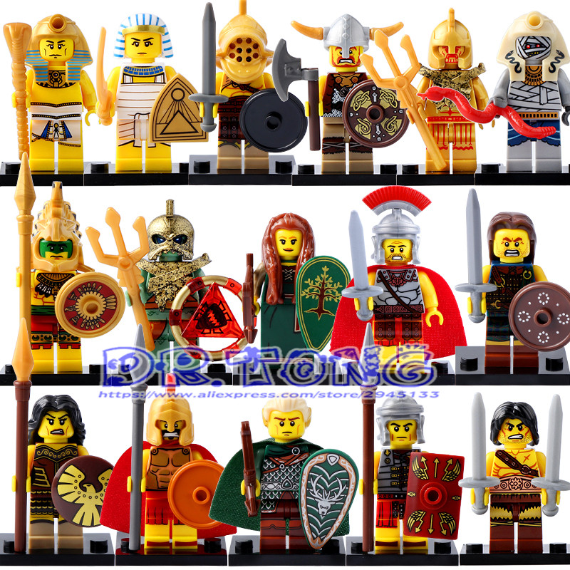 DR.TONG Super Hero Medieval Egyptian Warrior Figures Pharaoh Atlantis Medieval Knights Rome Commander Building Blocks Brick Toys single sale medieval castle knights dragon knights the hobbits lord of the rings figures with armor building blocks brick toys