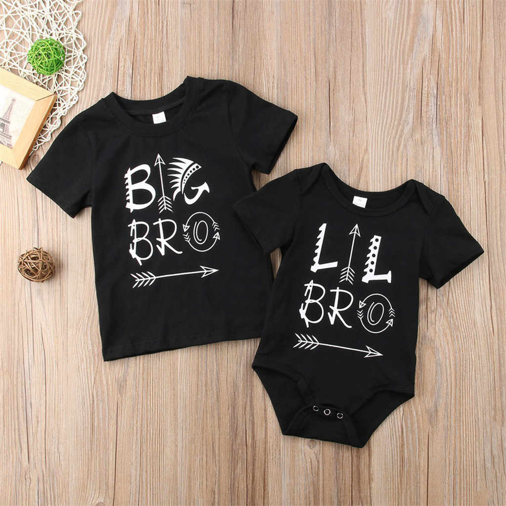 2019 niños pequeños ropa de bebé Lil Brother carta impresa mono mameluco trajes traje de sol Niñas Ropa conjunto chándal