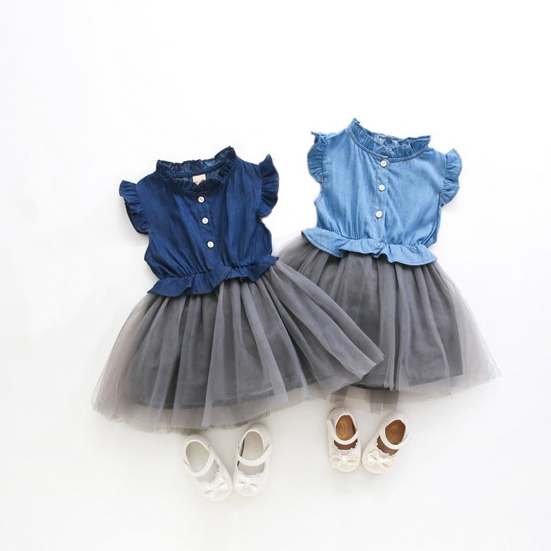 0c8add9c93e02 US $11.32 40% OFF|Toddler Girls Jeans Patchwork Tutu Dresses Baby Girl  Princess Birthday Party Dress Ball Gown Kids Vestido Children's Clothing  -in ...