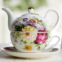 Afternoon tea sets ceramic tea for one floral tea pot with 1 cup and saucer